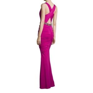 Nicole Miller | pink berry beaded crossback gown